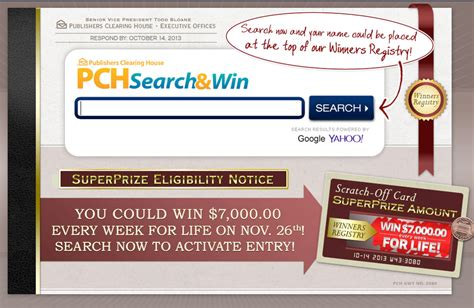 Publishers Clearing House Search - pch search and win online sweepstakes and contests autos post