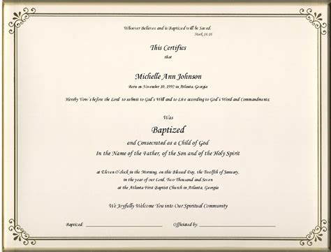 Presbyterian Baptism Certificate Template by Outstanding Baptism Certificate Template Word Image