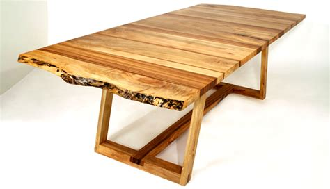solid spalted maple and zebra wood dining table design of