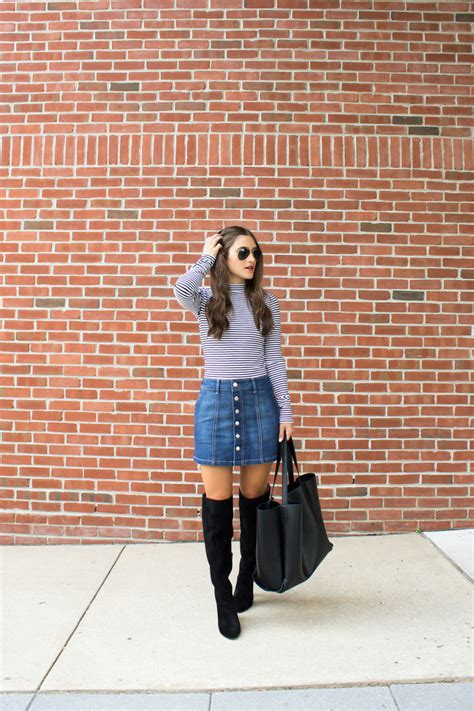 The Knee Boot Stylecrazy A Fashion Diary by Button How To Style A Denim Skirt For Fall Jayne