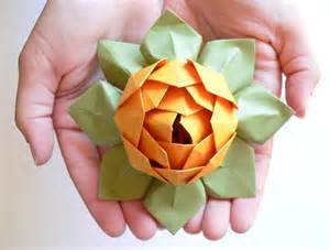 Paper Lotus Flowers Origami Lotus Flower Decoration Or Favor Gold And Moss