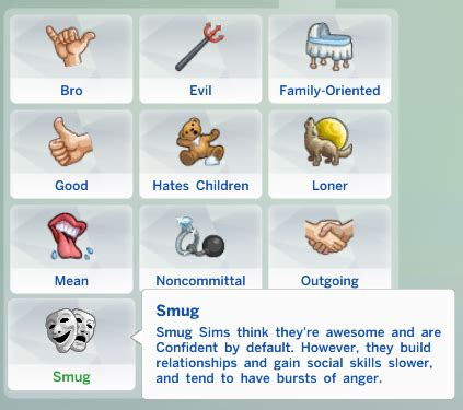 (mod) new traits for the sims 4: excitable, smug and closed