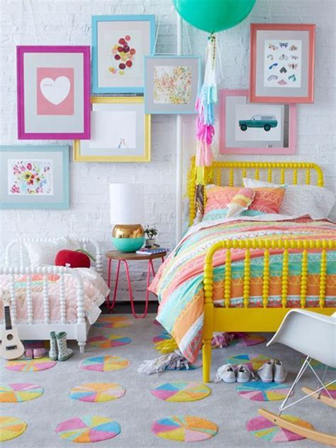 kids room color picture of shared girls room with lots of color and a