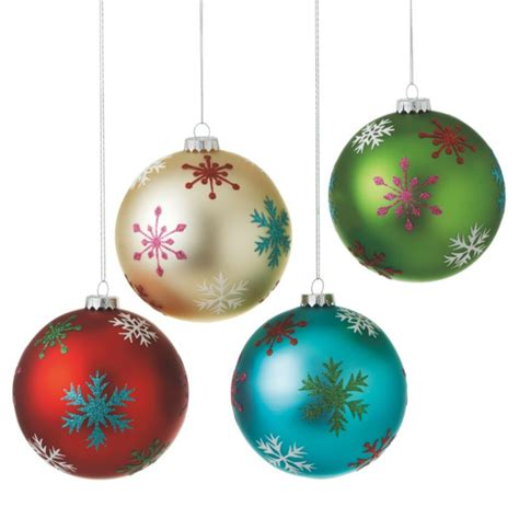 large snowflake ball christmas ornaments set of 4