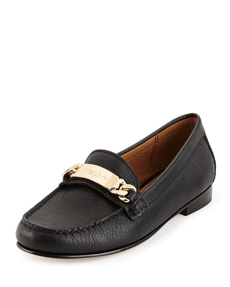 coach loafers coach kimmie leather loafer in black lyst