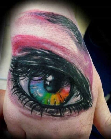 eye tattoo quotes colorful eye tattoo on hand ideas tattoo designs