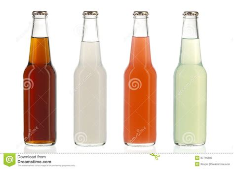 alcoholic drinks bottles four assorted soda bottles alcoholic drinks royalty free