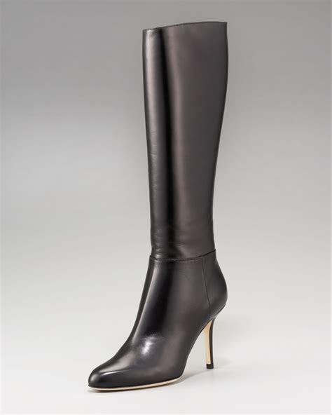 jimmy choo boots jimmy choo kirby fitted leather boot in brown lyst