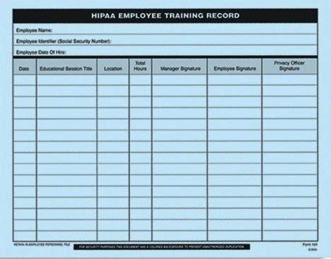 hipaa employee training record form 101