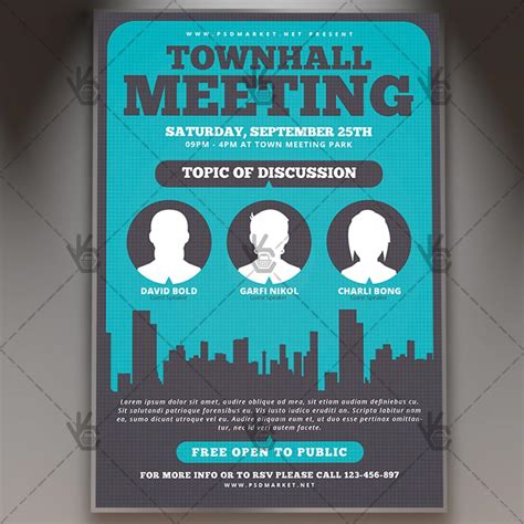 Community Meeting Premium Flyer Psd Template Psdmarket Town Invite Template