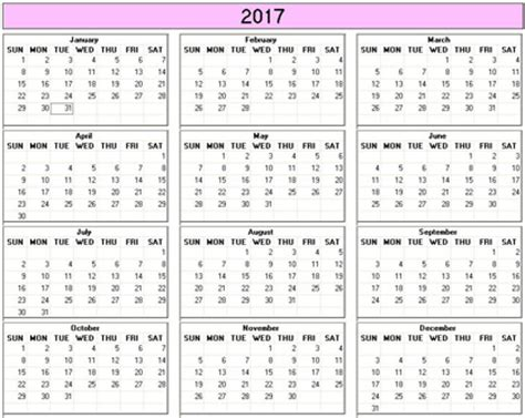 printable calendar 2017 small yearly 2017 printable calendar color weekday starts