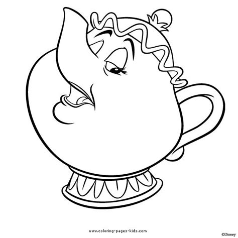 Beauty And The Beast Teapot Coloring Pages | mrs potts beauty and the beast color page disney