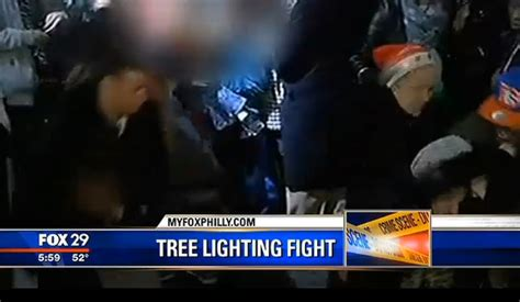 video fight at christmas tree lighting ceremony at city