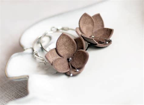 Handmade Leather Earrings - leather earrings in latte brown handmade leather jewelry