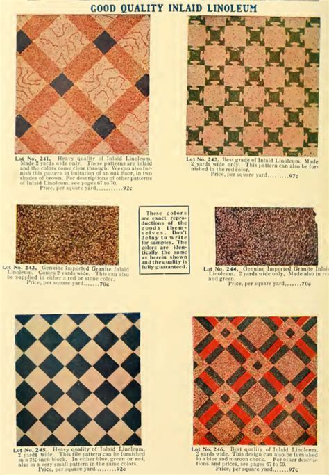 Inlaid linoleum patterns from 1908 catalog.   House