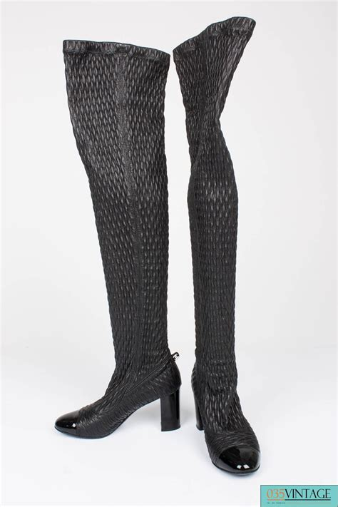 chanel strech leather thigh high boots black for sale at