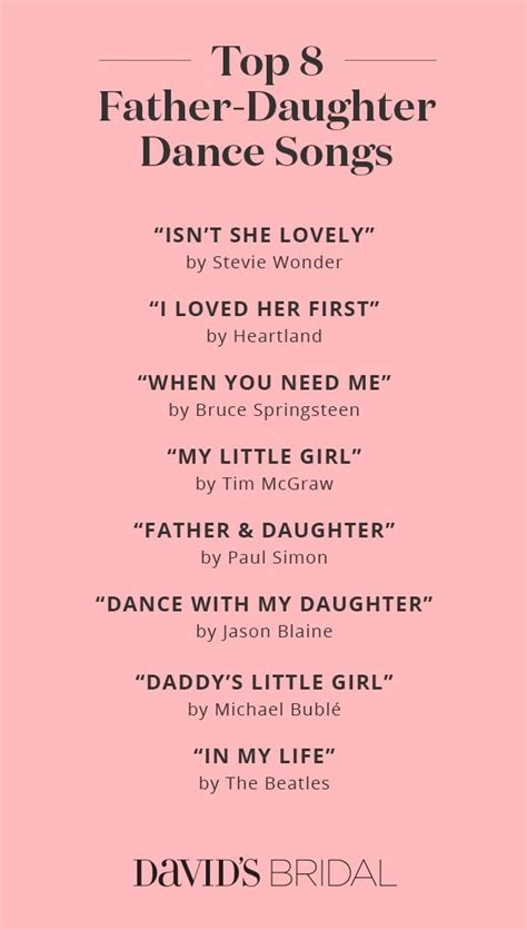 braut vater tanz lied top father daughter dance songs david s bridal wedding