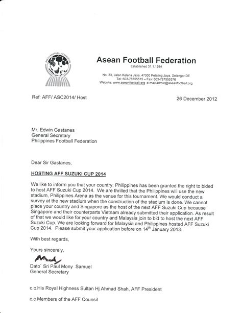 application letter sle in philippines philippines given green light to host next aff suzuki cup