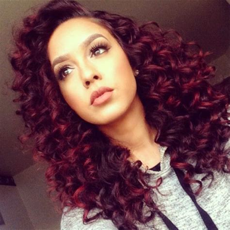 dyed curly hairstyles curly black hair with red highlights google search