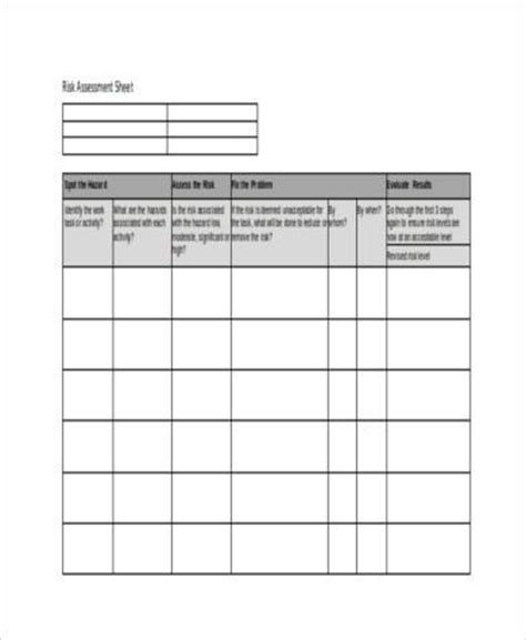 Risk Assessment Template Blank by Blank Risk Assessment Template Free