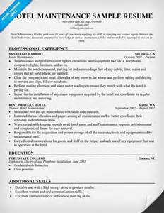 Hotel Resume Format by Hotel Maintenance Resume Sle Career Resume Exles Resume And Travel