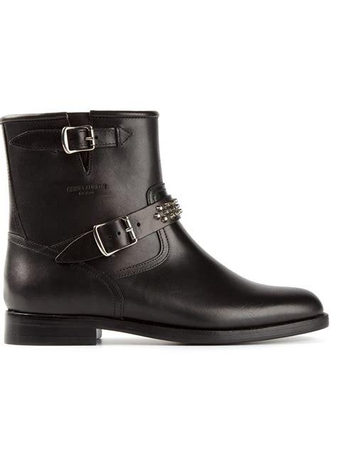 classic motorcycle boots lyst saint laurent classic motorcycle boots in black