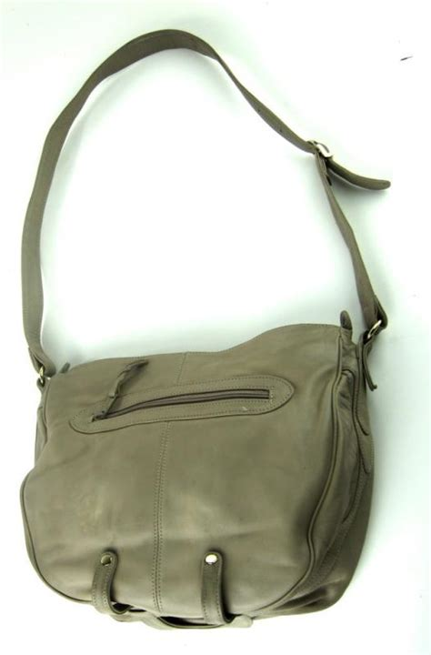 brio handbag brio vintage khaki color genuine leather large womens