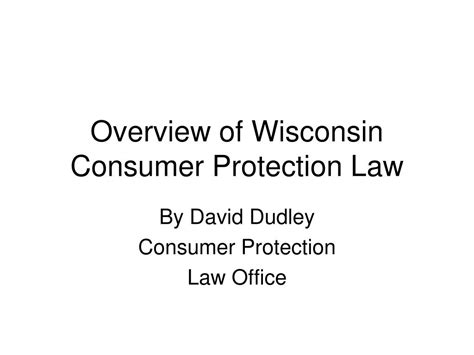 ppt overview of wisconsin consumer protection