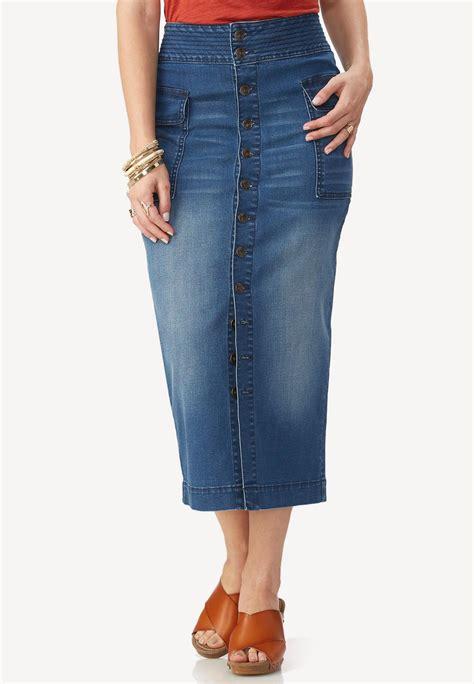 button front midi denim skirt skirts cato fashions
