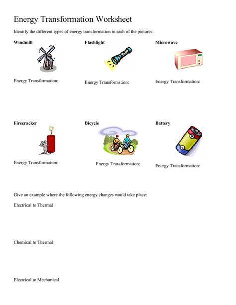 Energy Conversions Worksheet energy conversions worksheet worksheets releaseboard