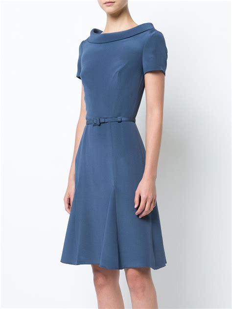 Mididress Flare Blue lyst carolina herrera flared midi dress in blue