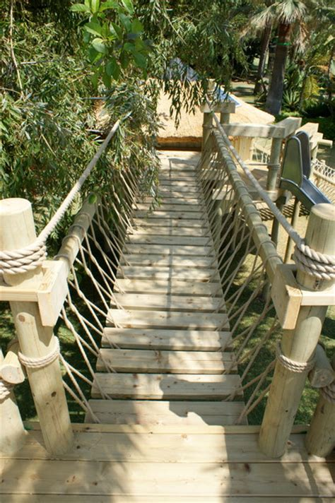 backyard rope bridge rope bridge by treehouse life mediterranean outdoor