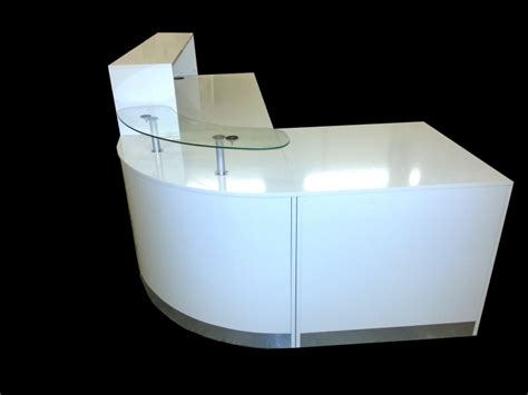 Ref 0404 Quality Reception Desk In White High Gloss High Reception Desk