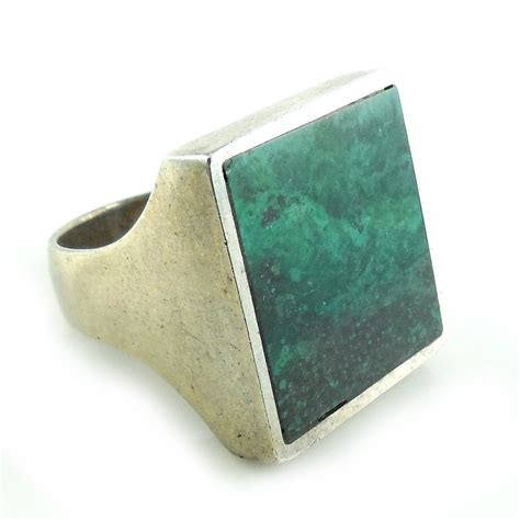 Beautiful Flatware vintage chunky heavy sterling silver malachite mens ring 6 5