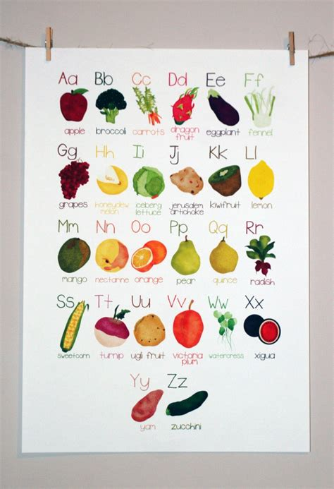a z name that fruit and vegetable books alphabet poster a z fruit and vegetable illustration