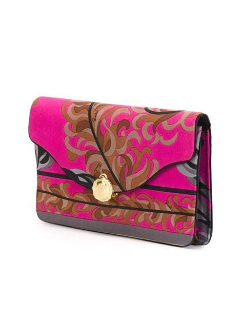 Emilio Pucci Silk Clutch Bag by Gorgeous Emilio Pucci Silk Foliage Clutch 70s For Sale At