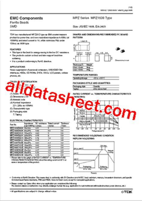 tdk capacitors datasheet mpz1608s601a datasheet pdf tdk electronics