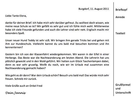 Deutschland Brief Beispiel Einen Pers 246 Nlichen Brief Schreiben Klasse 5