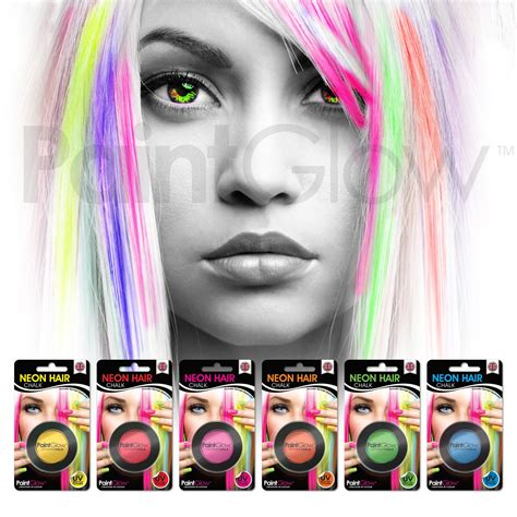 how to make neon color temporary hair dye with food paintglow uv neon hair chalk 6 pack festival fancy dress