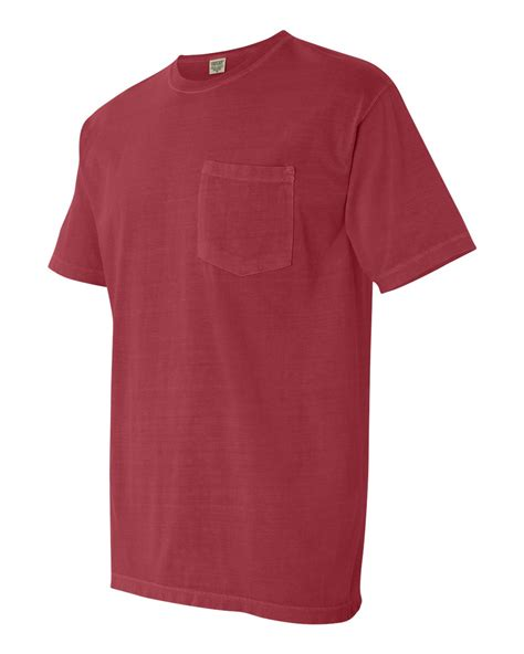 Comfort Colors Crimson by Comfort Colors Mens Pigment Sleeve Shirt With Pocket