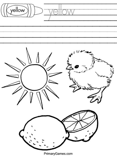 coloring page for yellow free coloring pages from primarygames com