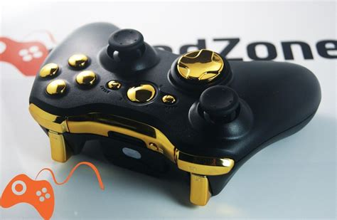 Playstation 2 By Fz 4 quot black gold quot xbox 360 modded controller moddedzone