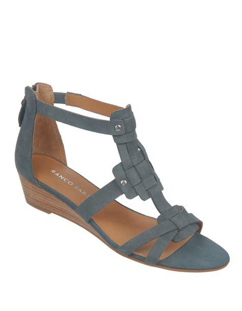 franco sarto sandals franco sarto ulysses nubuck leather wedge sandals in blue