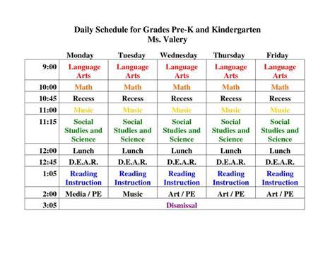 preschool daily schedule template best 25 kindergarten daily schedules ideas on