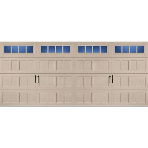 16 X 7 Garage Door Lowes by Shop Pella Carriage House 16 Ft X 7 Ft Insulated Sandtone