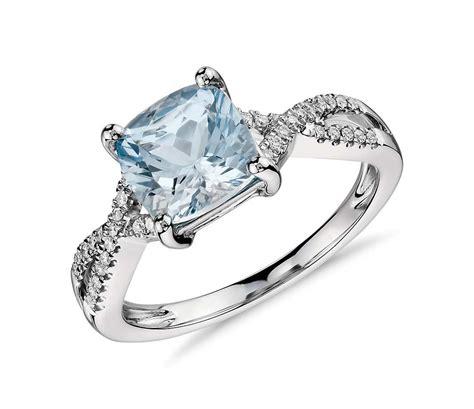 aquamarine and infinity twist ring in 14k white