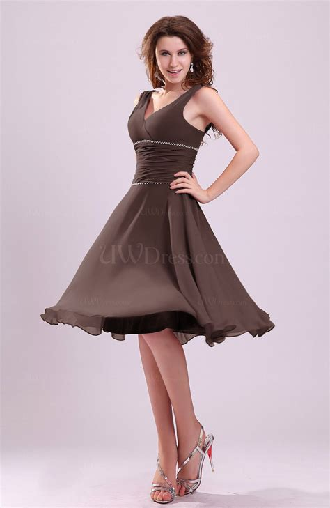 Brown Dress chocolate brown a line sleeveless chiffon knee length