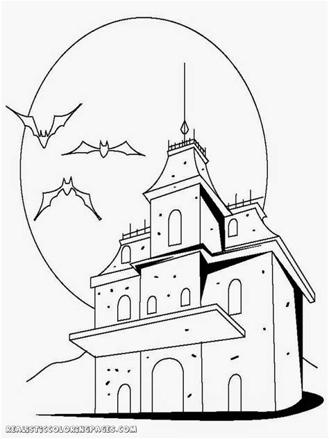 realistic halloween coloring pages halloween haunted house coloring pages realistic