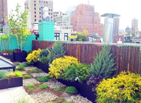nyc roof garden paver deck terrace sedum trays bamboo
