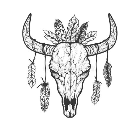 monochrome drawing bull tribal patterns on stock vector bull skull with feathers americans tribal style